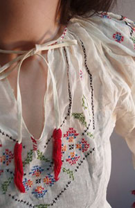 Peasant Blouse with Tassels from Decades Vintage