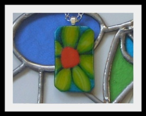 Floral Glass Pendant by Fiona Macneil