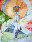 "Moko Beacon with Burial Peaches  Watercolor 16 "" x 24 ""  Copyright 2008, KA Shott"