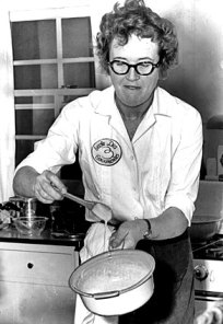 Julia Child in the kitchen